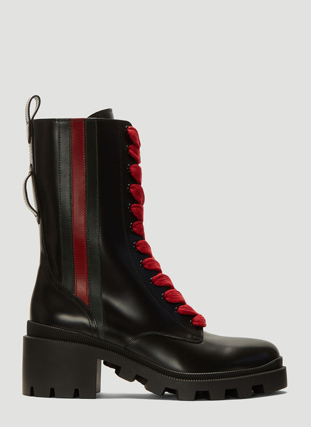 Gucci Web-Trim Leather Boots in Black size EU - 37