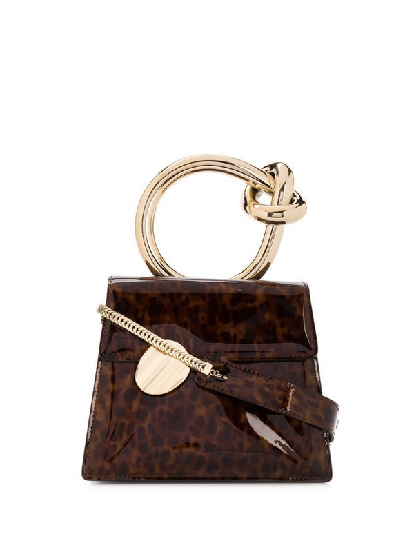 Benedetta Bruzziches gold ring handle tortoise effect tote bag in brown
