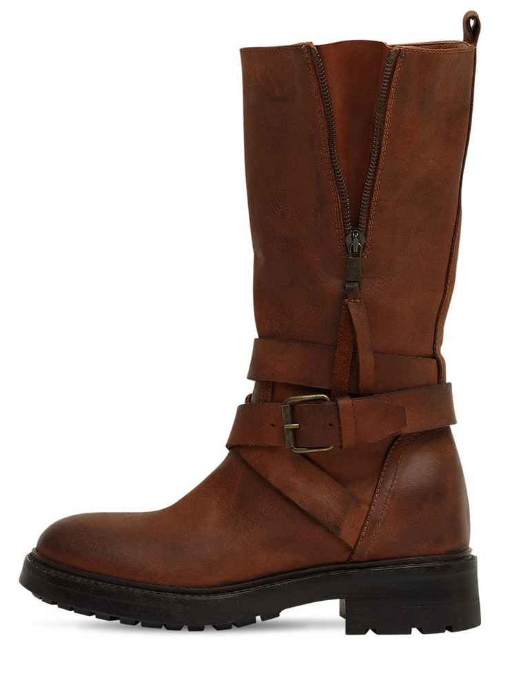 STRATEGIA 80mm Leather Biker Boots in tan