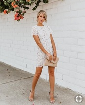 dress,white dress,lace dress,shift dress,white lace shift dress