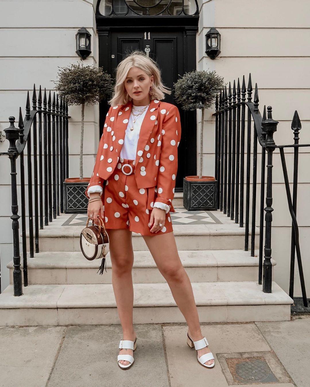 shorts High waisted shorts polka dots orange blazer white sandals handbag white t-shirt jacket river island