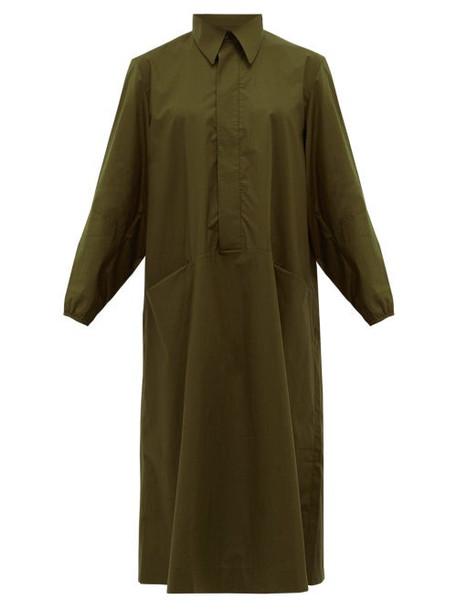 Toogood - The Housekeeper Cotton-poplin Shirtdress - Womens - Dark Green