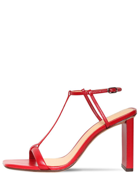 ALEXANDRE BIRMAN 85mm Leather T-bar Sandals in red