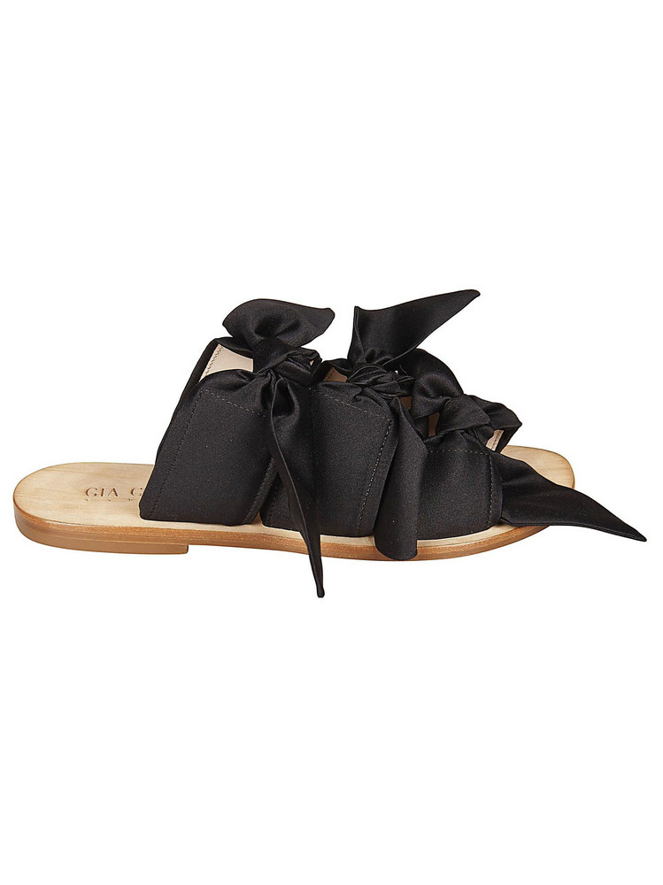 Gia Couture Knotted Sandals in black