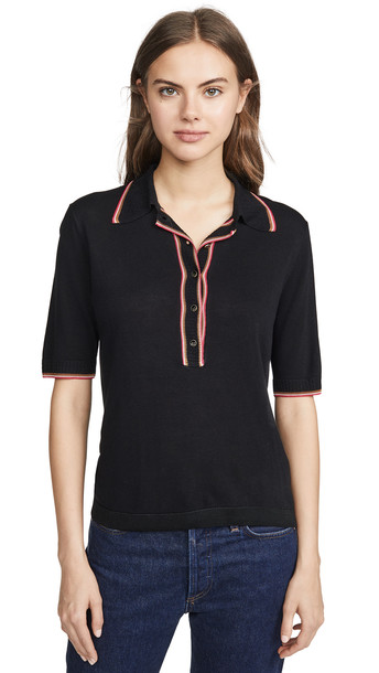 Scotch & Soda/Maison Scotch Short Sleeve Polo Sweater in black
