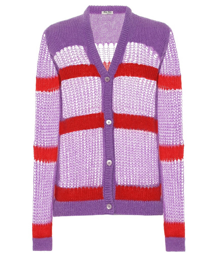 Miu Miu Mohair and wool-blend cardigan in purple