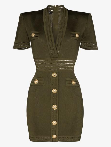 Balmain V neck gold button mini dress