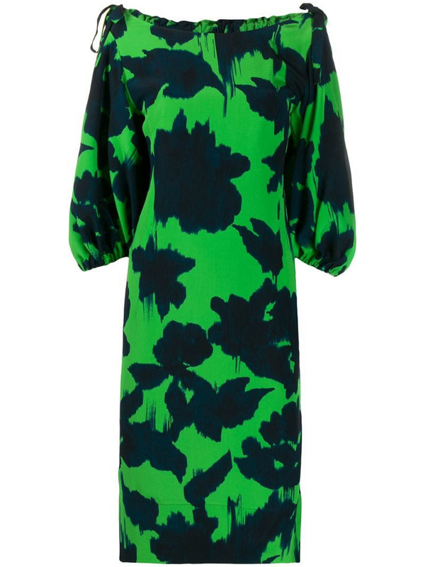 Delpozo abstract-print boat neck dress in green