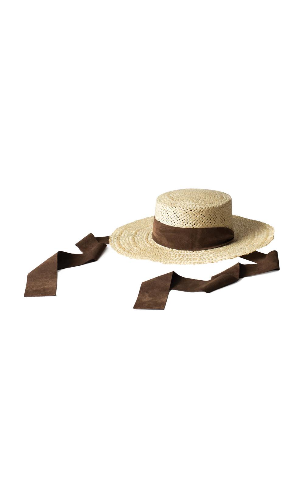 Janessa Leone Nina Suede-Trimmed Straw Hat in neutral