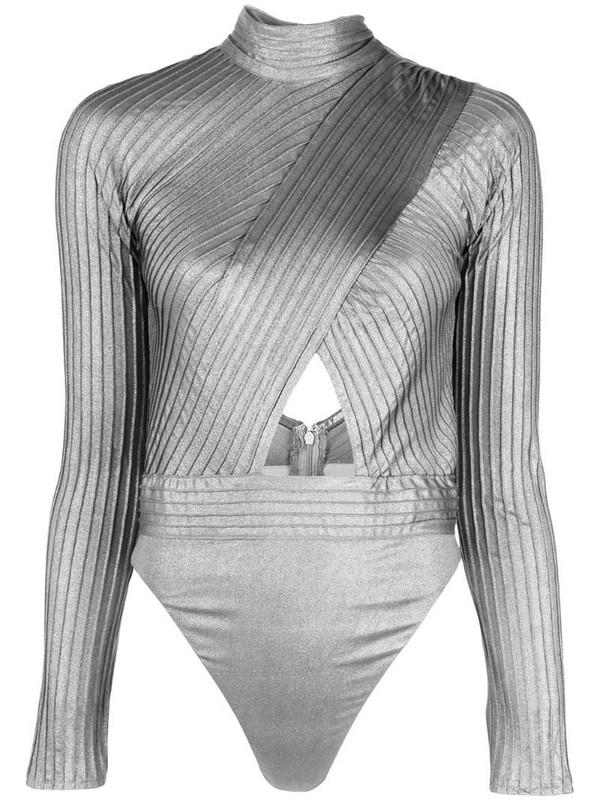 Tadashi Shoji cut-out body blouse in silver