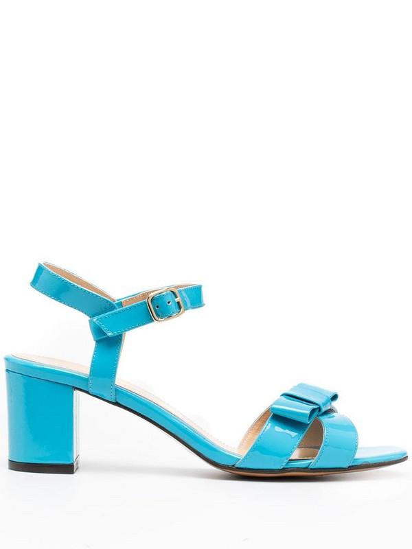 Tila March bow cross-strap sandals in blue