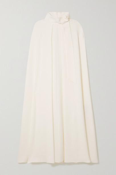 Valentino - Tie-detailed Cape-effect Silk-cady Midi Dress - White