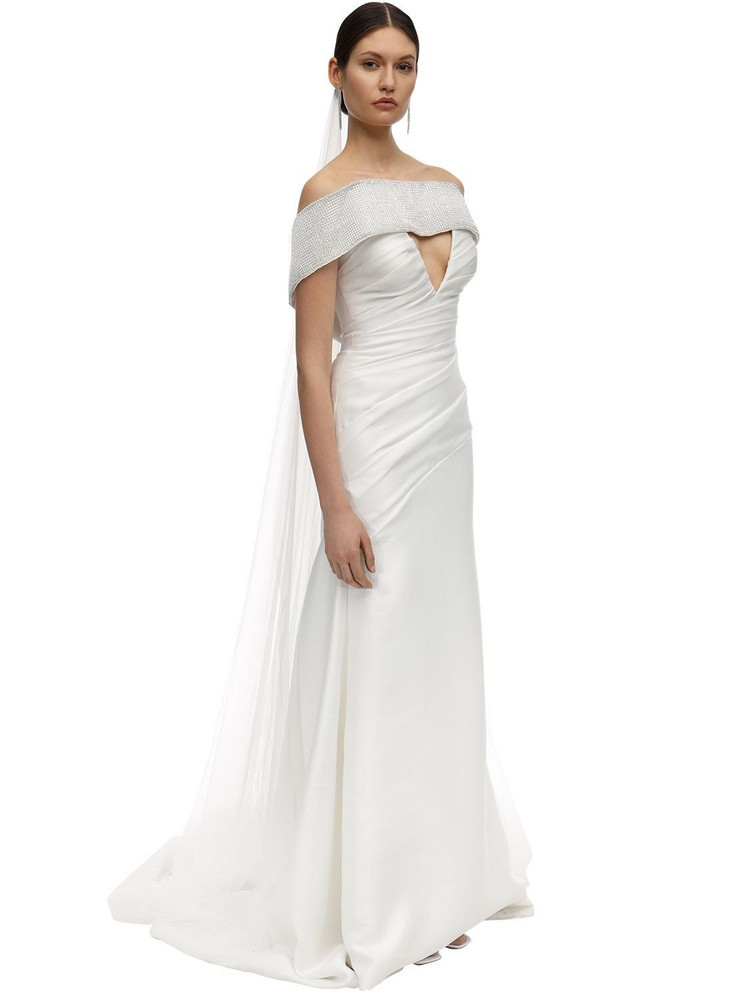 SANDRA MANSOUR Mikado Embellished Long Dress in silver / white