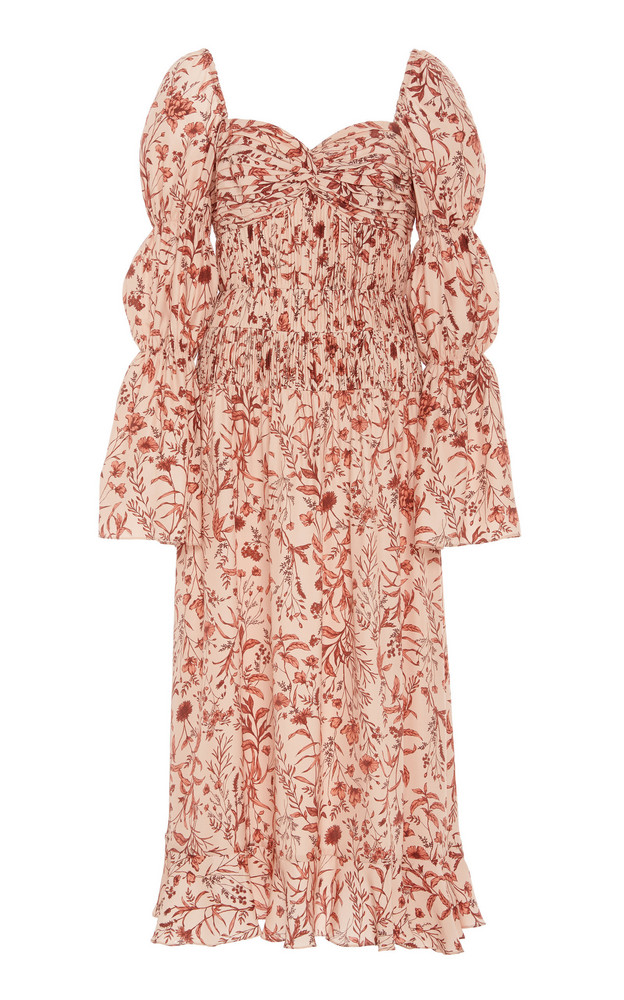 AMUR Filipa Floral-Patterned Matelassé-Silk Midi Dress in print