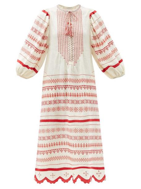 Vita Kin - Belarus Beaded Embroidered Linen Dress - Womens - Red White