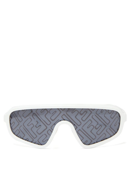 Fendi - Botanical Ff-print Shield Sunglasses - Womens - White