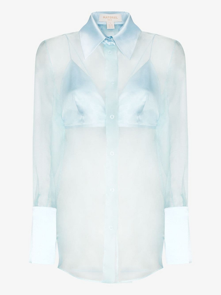 Matériel sheer silk-organza shirt in blue