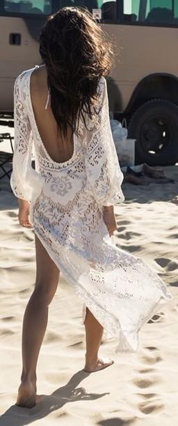 dress swimwear vogue crochet white dress ace summer summer dress maxi dress backless open back open back dresses backless dress
