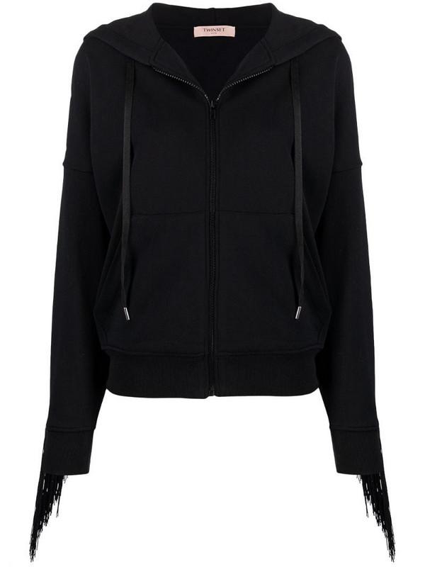Twin-Set fringe-detail zip-up hoodie in black