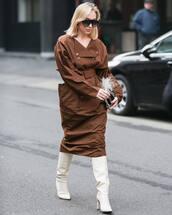 shoes,white boots,jimmy choo,knee high boots,brown dress,midi dress,maxi dress,handbag
