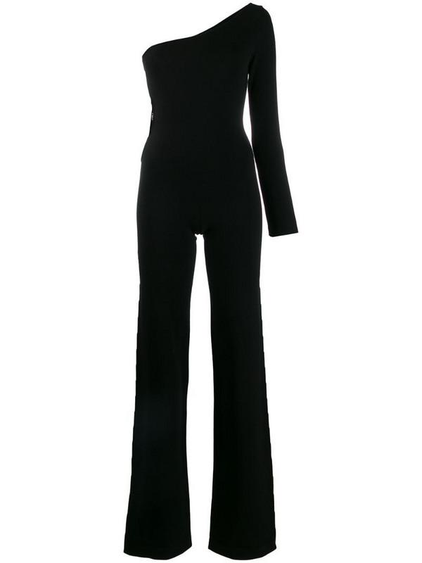 Philipp Plein one shoulder knit jumpsuit in black