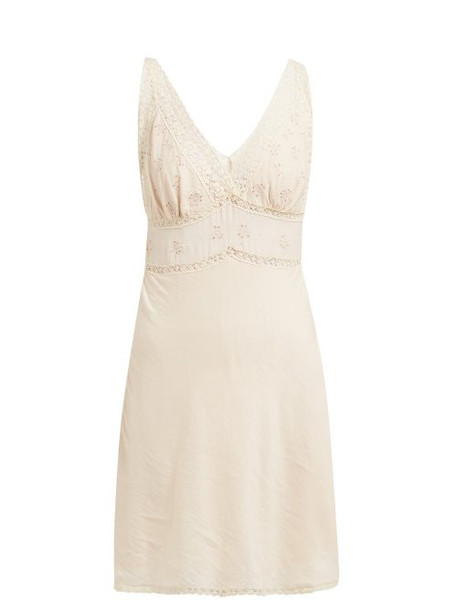 Mes Demoiselles - Gardner Lace Trimmed Cotton Blend Slip Dress - Womens - Light Pink