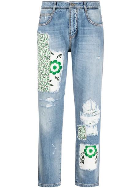Ermanno Scervino boyfriend-cut patchwork jeans in blue