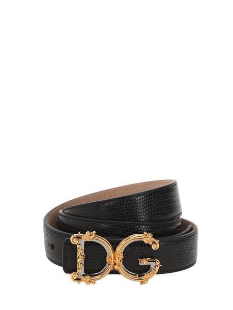 DOLCE & GABBANA 30mm Dg Logo Print Leather Belt in black