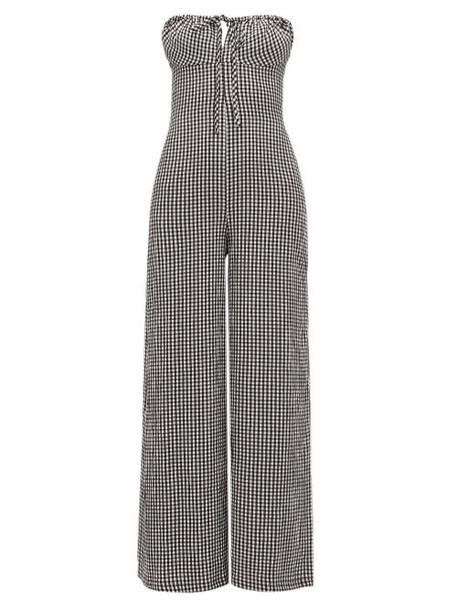 Solid & Striped - Strapless Gingham Seersucker Jumpsuit - Womens - Black White