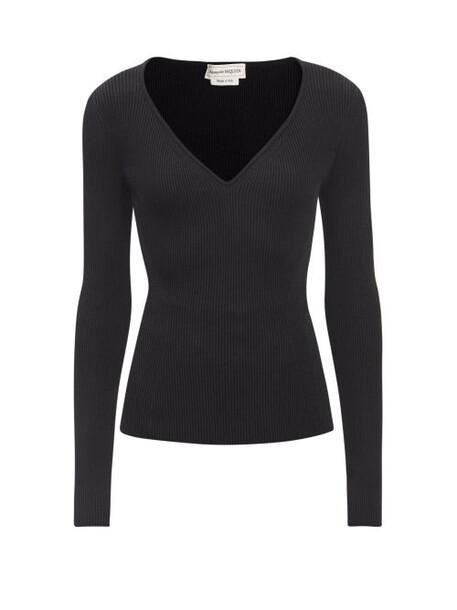 Alexander Mcqueen - V-neck Ribbed-jersey Sweater - Womens - Black