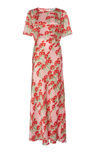Bernadette Antwerp Jackie Belted Silk Midi Dress Size: 34 in print