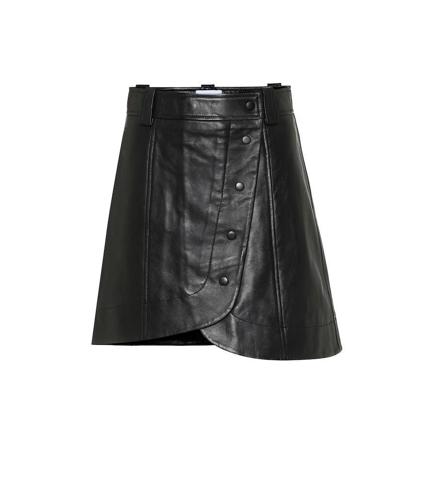 Ganni Leather miniskirt in black