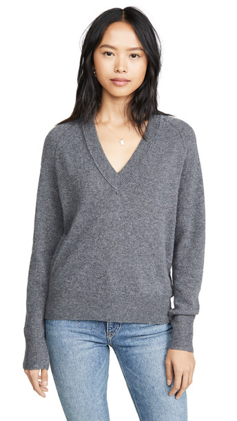 Equipment Madalene V Neck Sweater in grey