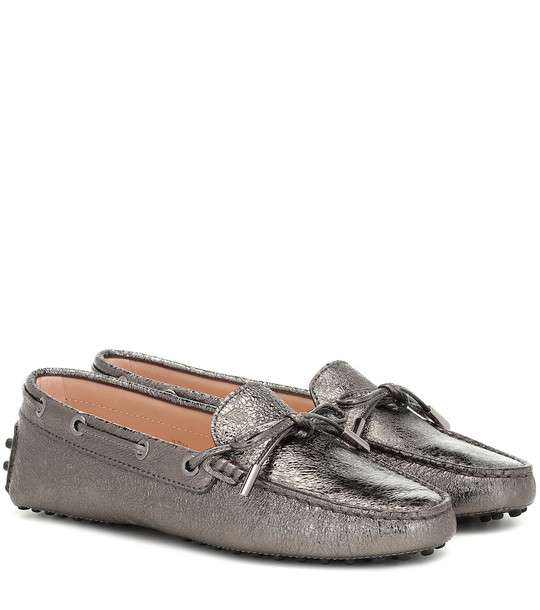 Tod's Gommino leather loafers in metallic