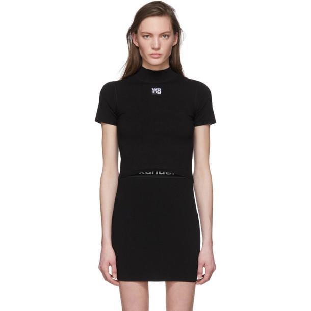 alexanderwang.t Black Bodycon Mock Neck T-Shirt