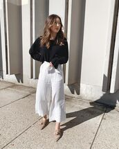 jumpsuit,white jumpsuit,stripes,mules,black sweater,casual