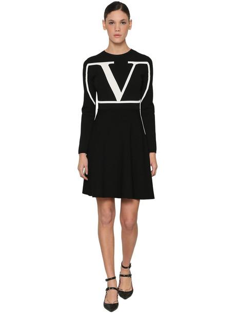 VALENTINO Vlogo Intarsia Viscose Blend Knit Dress in black / white