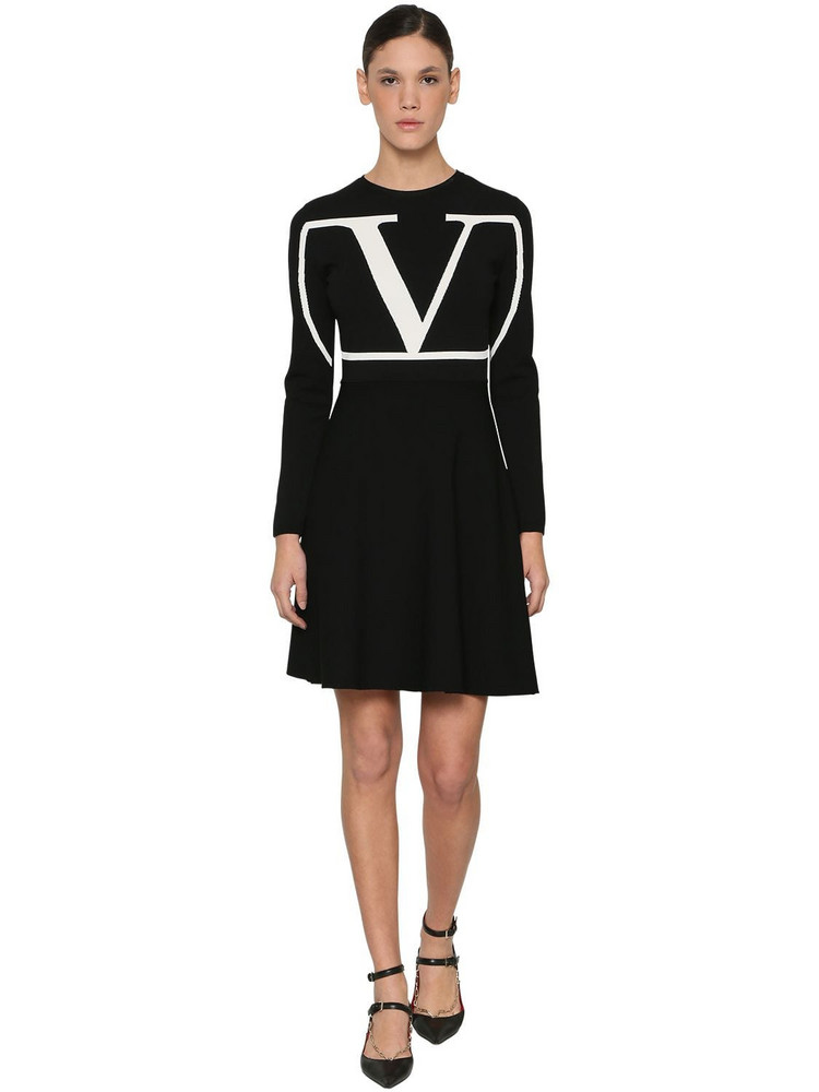 VALENTINO Vlogo Intarsia Viscose Blend Knit Dress in black / white