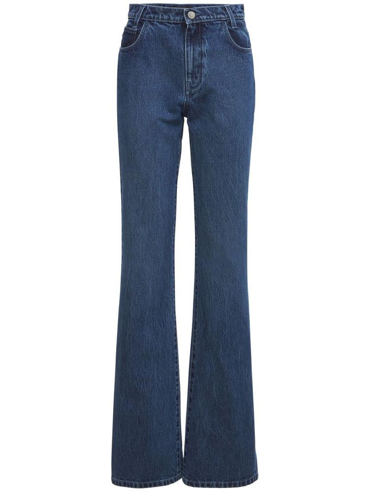 RAF SIMONS Cotton Denim Straight Leg Jeans in blue