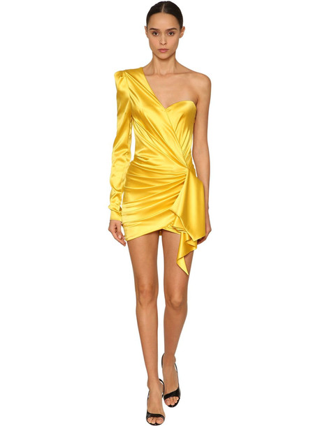 ALEXANDRE VAUTHIER One Shoulder Draped Stretch Satin Dress in yellow
