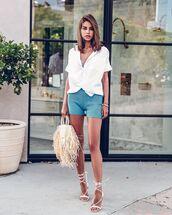 shorts,short shorts,knit,blue shorts,white sandals,white shirt,top,handbag