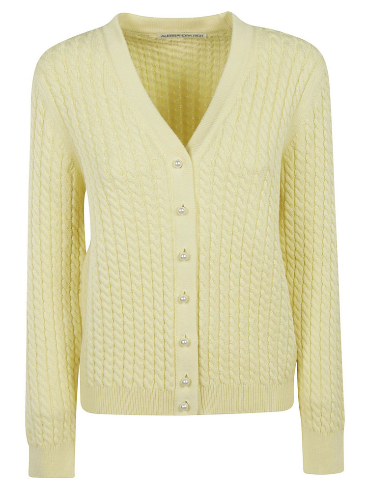 Alessandra Rich Buttoned Cardigan in yellow