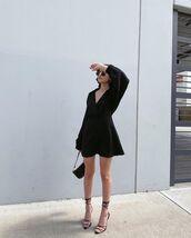 dress,black dress,mini dress,long sleeve dress,black sandals,black bag