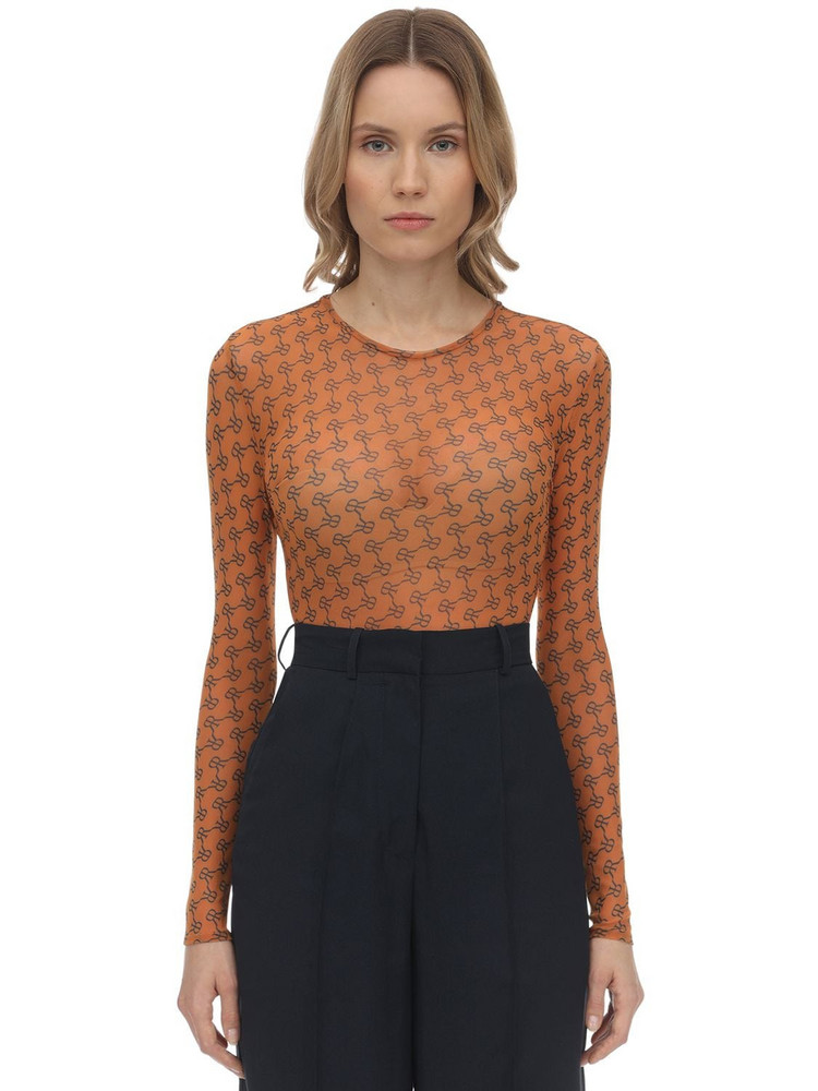 ROKH Printed Mesh Top in orange