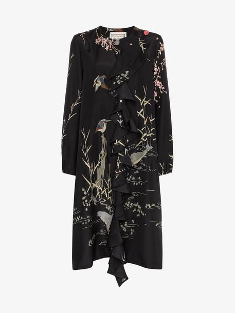 By Walid Edith printed ruffle silk dress in black