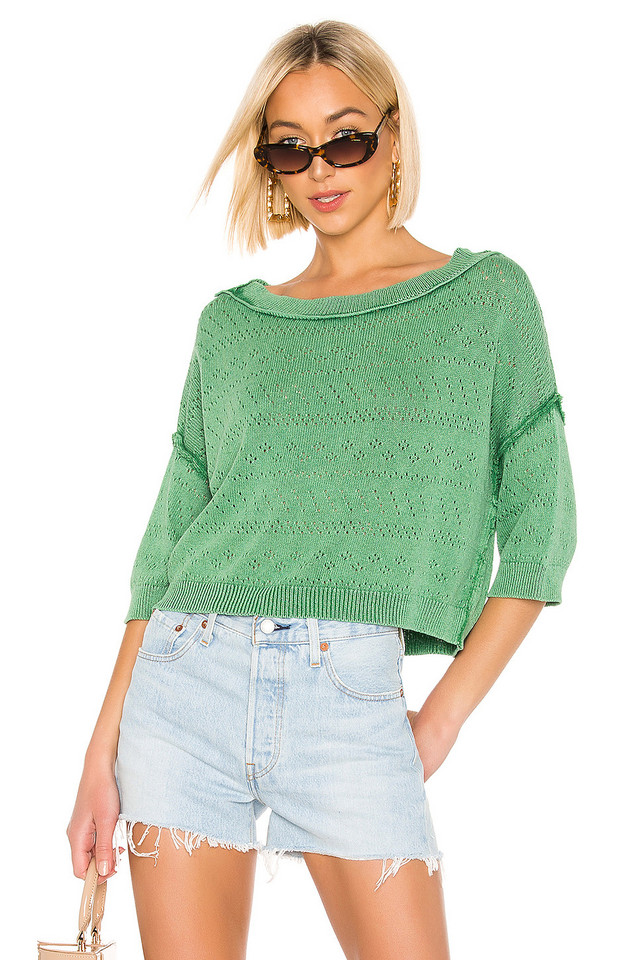 Free People Sand Castle Sweater in green