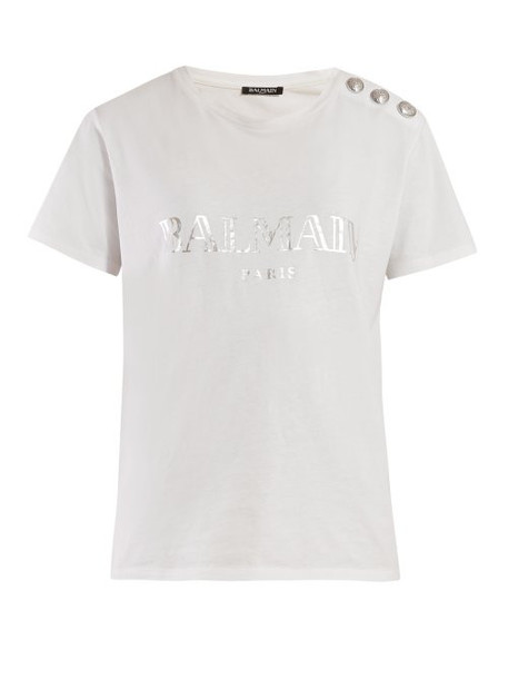 Balmain - Logo Print Cotton T Shirt - Womens - White Silver