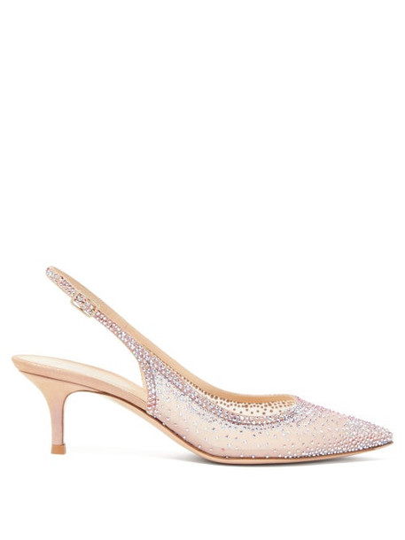 Gianvito Rossi - Crystal-embellished Mesh Slingback Pumps - Womens - Nude Multi