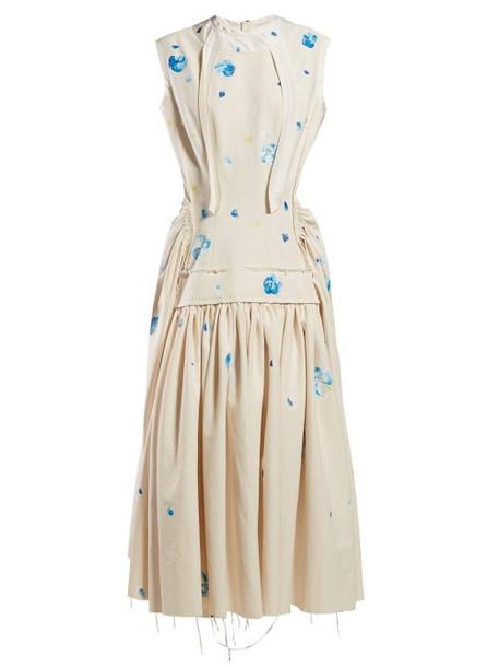 Marni - Raw Edge Floral Print Cotton Dress - Womens - Blue Print