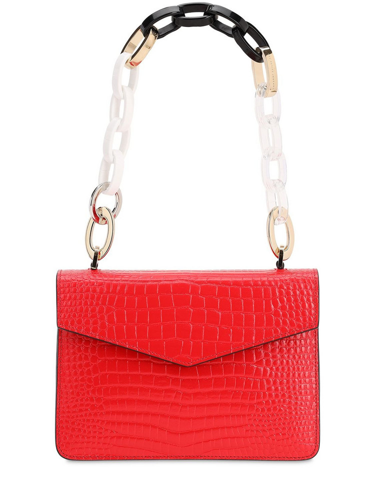 LES PETITS JOUEURS Mini Pixie Croc Embossed Leather Bag in red